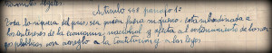 L'escola republicana serà laica; el 1932 una circular ordenà retirar els crucifixos de les aules i substituir l'ensenyament de la religió per lectures setmanals comentades de la Constitució. Aquests són alguns fragments dels apunts que va prendre un alumne saltenc en les lliçons d'estudi de la Constitució republicana.