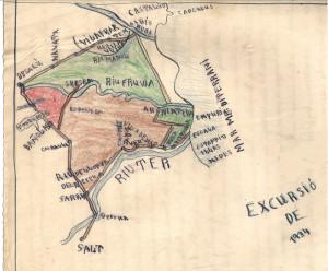 Mapa de l'excursió de fi de curs de 1934, realitzada per un alumne de Salt. L'aposta per la pedagogia activa va fer créixer l'interès educatiu pels espais oberts. Així, cada cop més es van impulsar les sortides i excursions escolars, es crearen les primeres escoles d'estiu i s'instaurà la dinàmica de fer excursions de fi de curs.