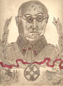 Retrat del Ministre de la Guerra, el General Miaja, realitzat per un alumne de Salt el 1937. És una mostra de com el context de guerra impregnava la vida quotidiana i era present també a les aules de les escoles
